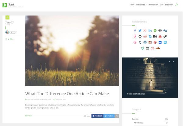 one column blog magazine wordpress theme