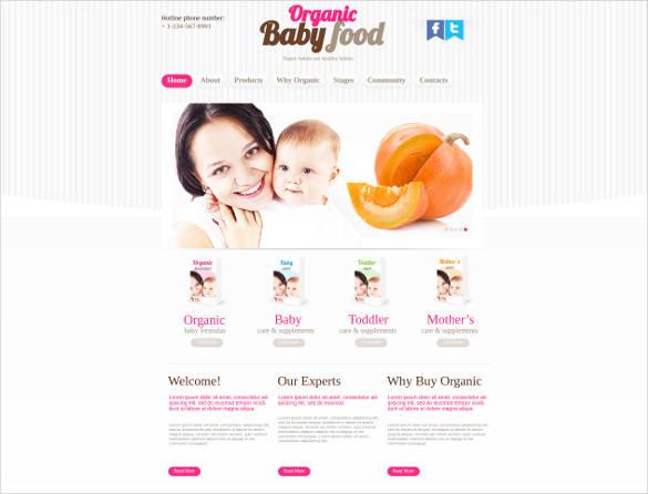 organic baby food website template