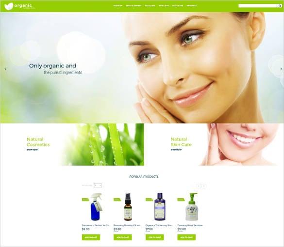 organic ecommerce website template