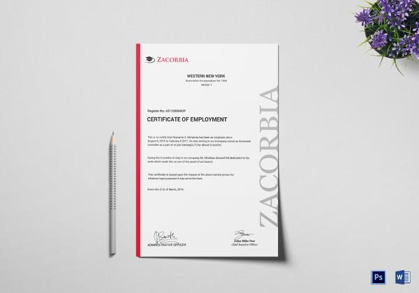 psd master employment certificate template