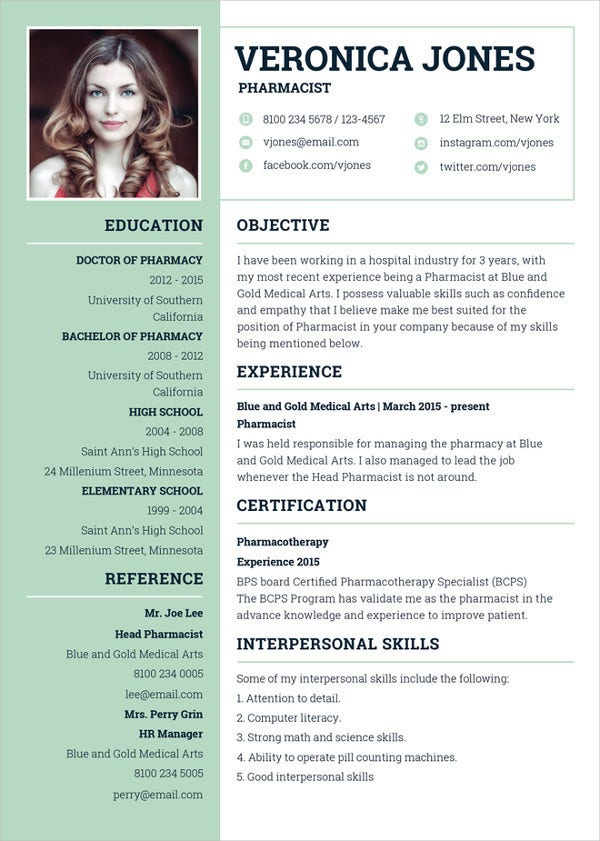 10 pharmacist resume templates to download for free sample.