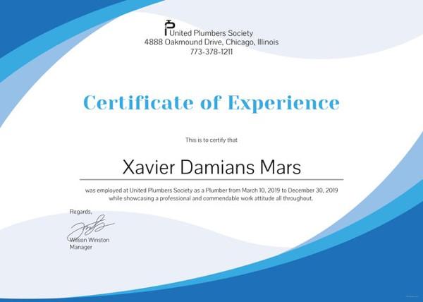 plumbing-experience-certificate-template