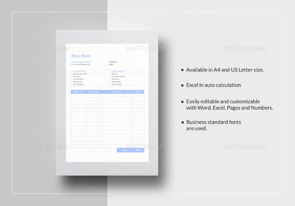 price sheet template in ipages