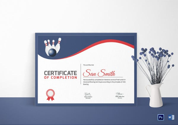 printable bowling certificate template