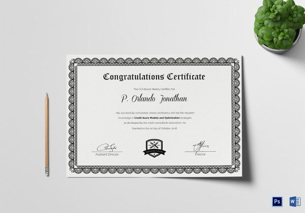 Printable Congratulations Certificate Template  Congratulations Award Template