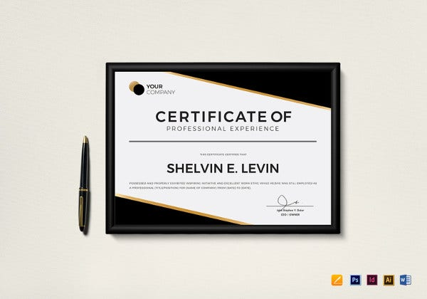 professional experience certificate photoshop template