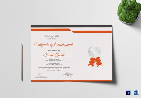recognition employment certificate design template