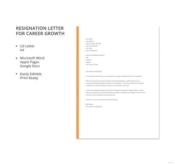 resignation letter for career growth template
