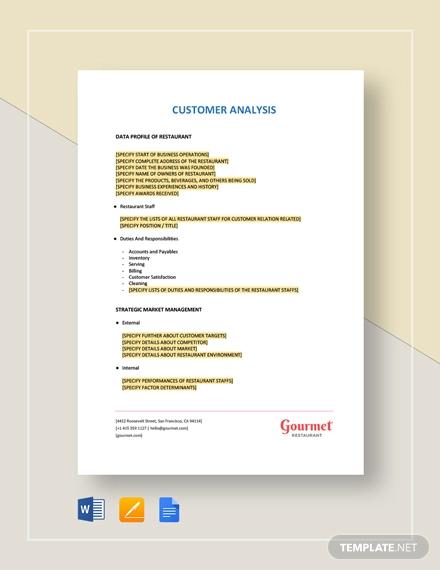 restaurant customer analysis template