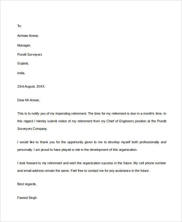 Goodbye Letter Template    Free Pdf Documents Download  Free