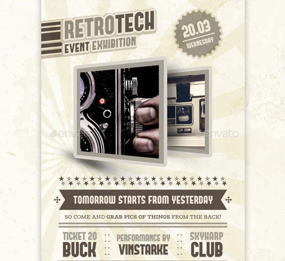 retrotech exhibition flyer