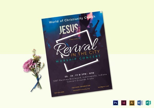 Revival Worship Concert Flyer Template  Christian Flyer Templates