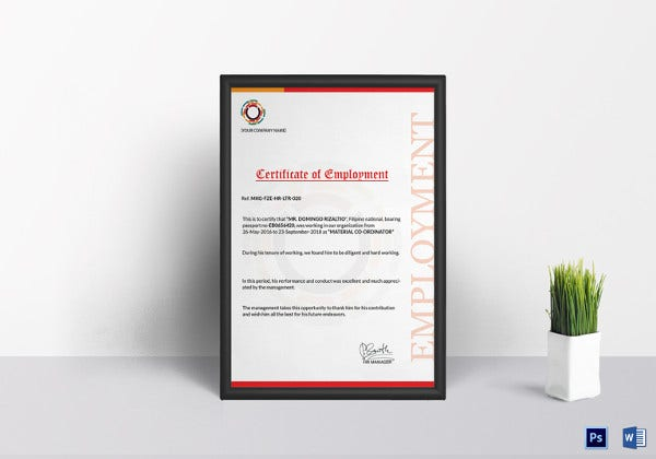 sample certificate of employment template