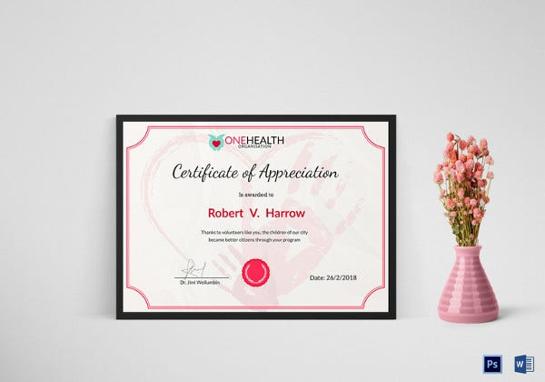 sample health certificate of appreciation template