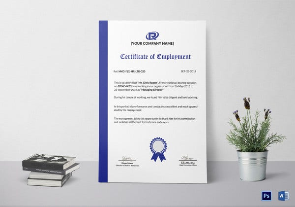 sample regular employment certificate template