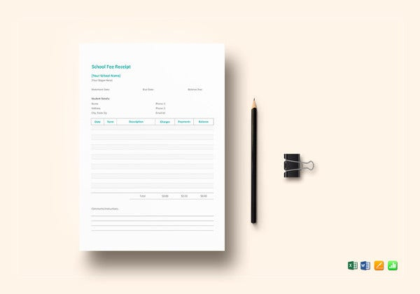school fee receipt template ms excel