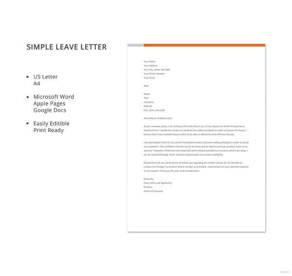 Simple-Leave-Letter-Template  Year Pport Application Form Canada on