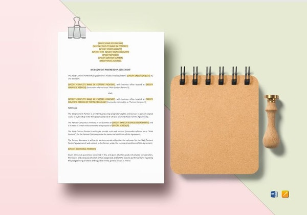 simple web content partnership agreement template
