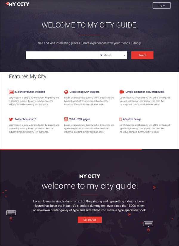 social network geolocation bootstrap html template