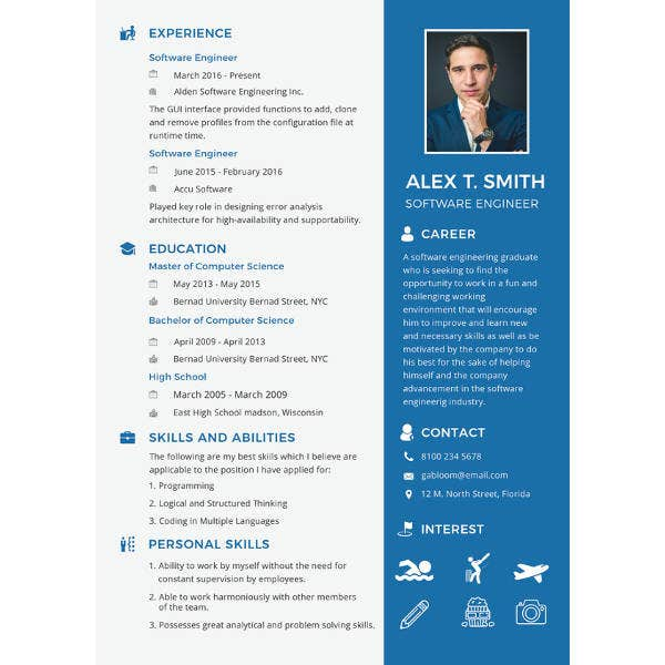 Software Engineer Fresher Resume Template