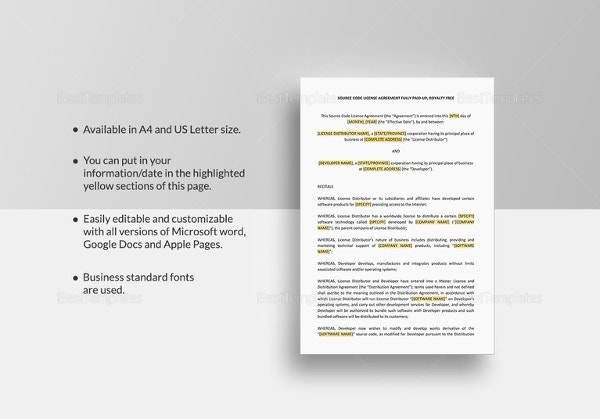 source-code-license-agreement-template