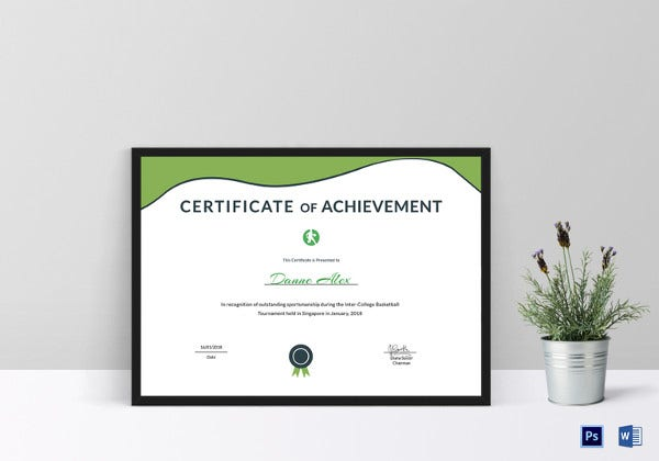 sports achievement certificate
