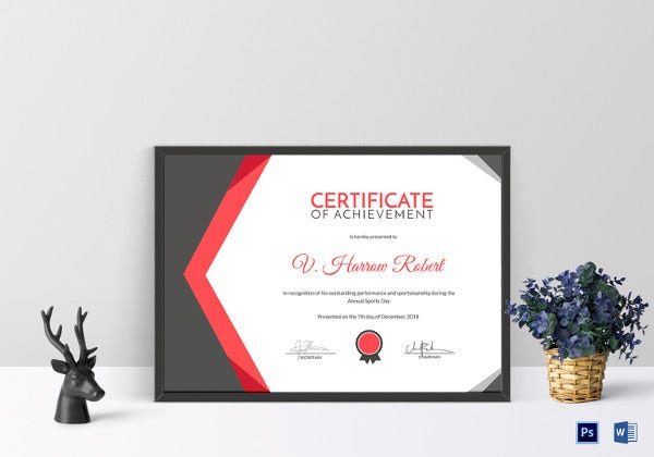 sports day achievement certificate template psd