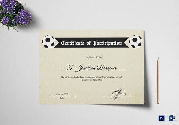 sports day participation certificate
