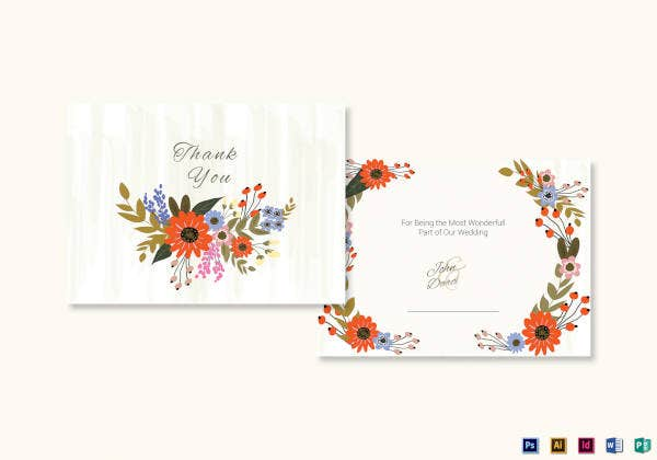 35 free thank you cards free psd eps document download free summer floral thank you card template spiritdancerdesigns Images