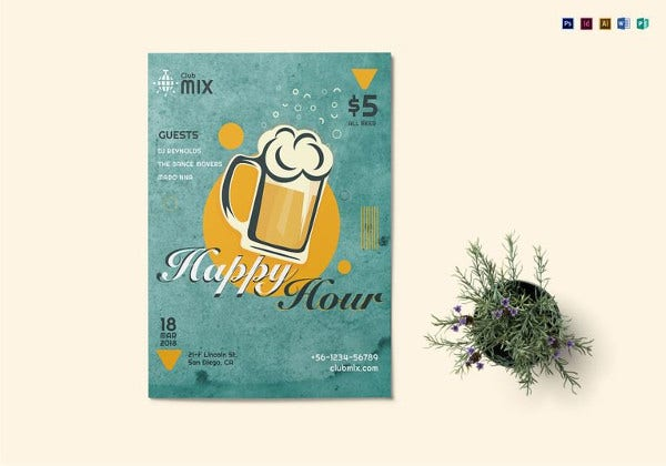 vintage happy hour flyer template in psd