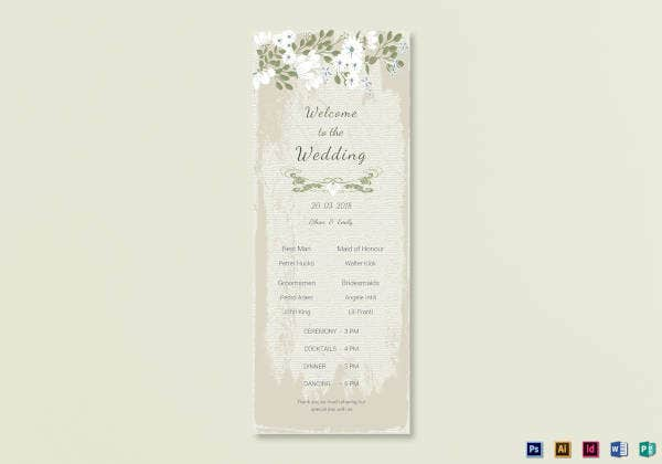 vintage wedding program card template