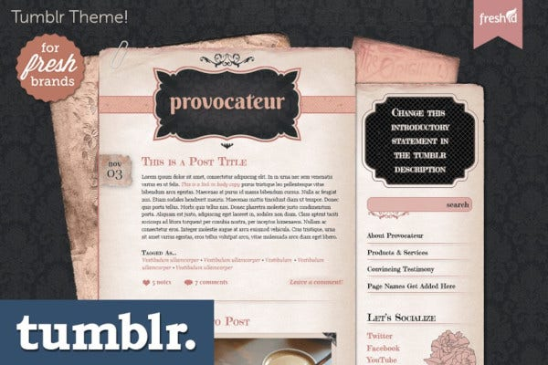 vntage provocateur tumblr theme
