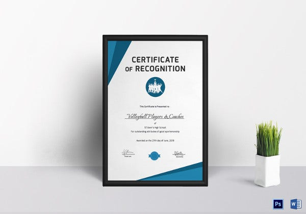 volleyball certificate of recognition template