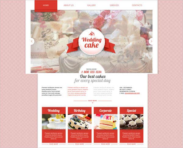 wedding cakes website template