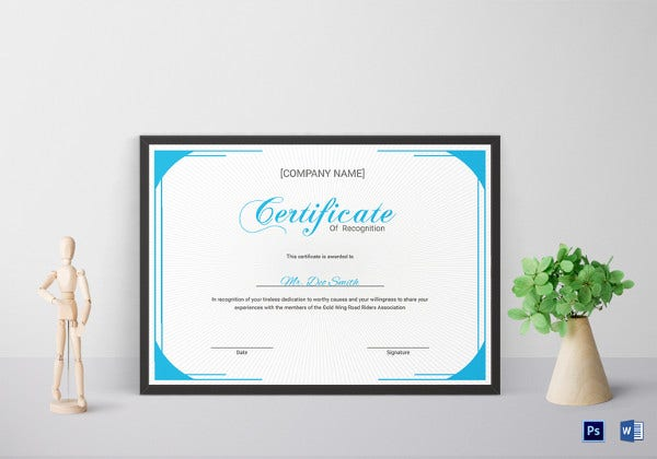 youth certificate of recognition format template