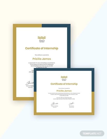 creative internship certificate