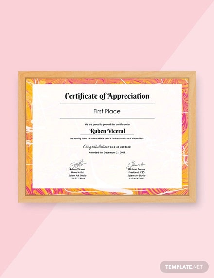 free appreciation certificate