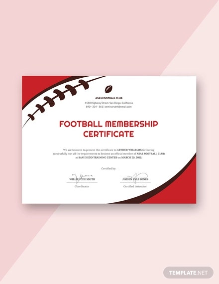 free football certificate