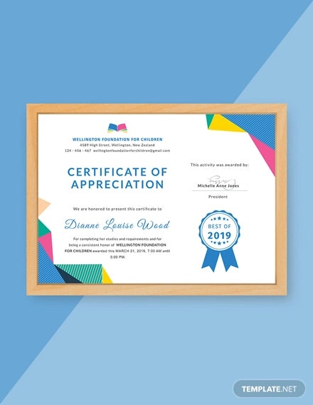 free gradutation appreciation certificate
