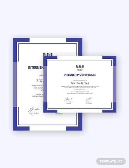 modern internship certificate