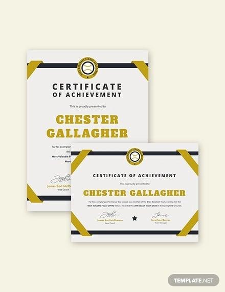 Modern Baseball Award Certificate Template