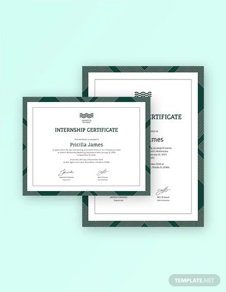 student internship certificate