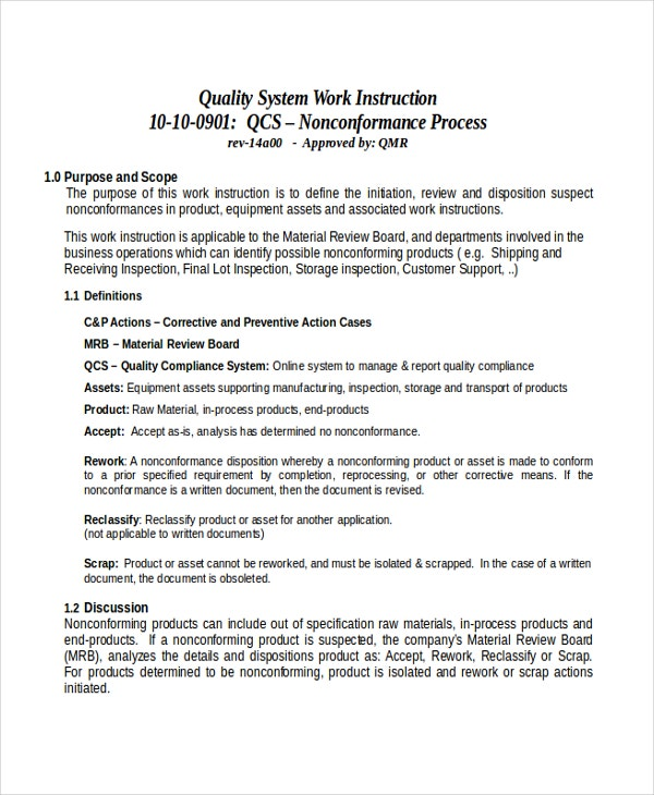 Instruction Templates  Free Sample Example Format  Free