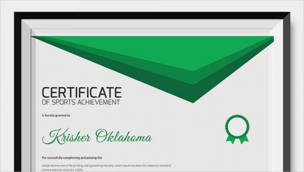 sports achievement certificate