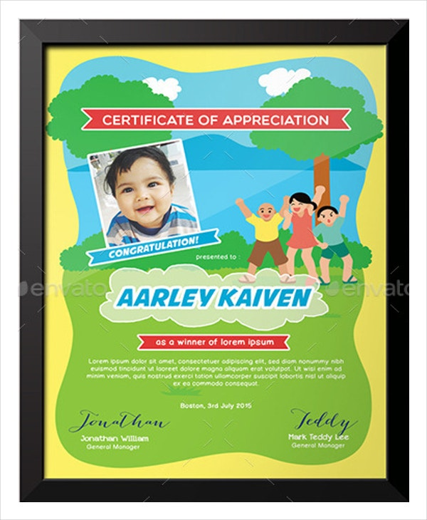 Baby Appreciation Certificate Template