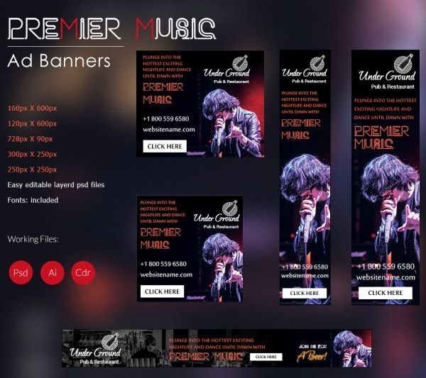 Premier Music Ad Banners