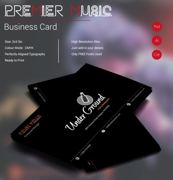 premier music business card
