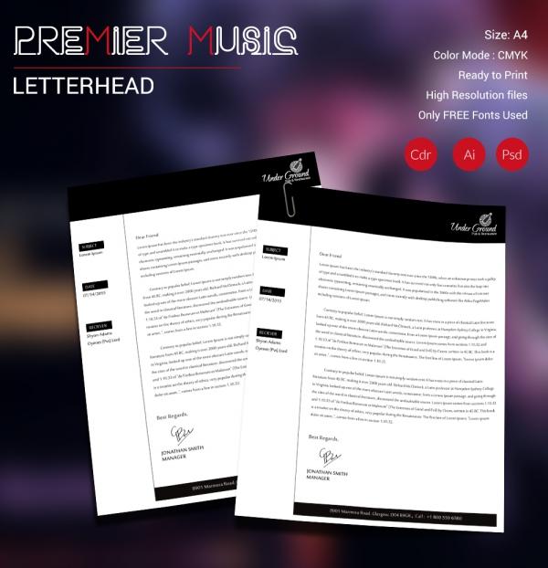 Premier Music Letterhead
