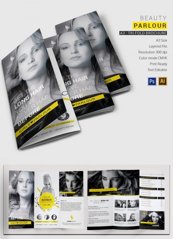 beauty parlor a3 tri fold brochure