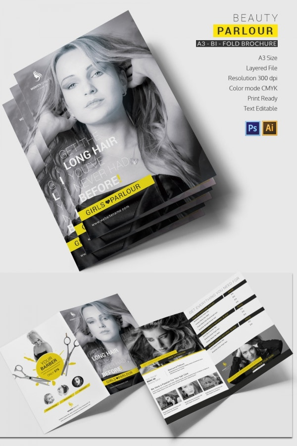 beauty parlor a3 bi fold brochure